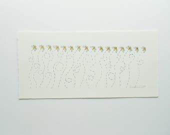 Original Watercolor Illustration // Buzzing Bees