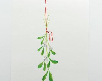Original Watercolor Illustration // Mistletoe