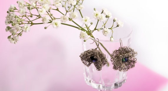 Wire Crochet Dangle Earrings with Crystals