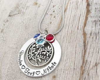 Valentines Day - Gift for Mom - Tree of Life Necklace - Mother's Birthstone Necklace - Necklace with Kids Names - Personalized Jewelry