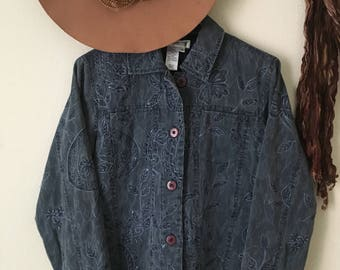 Vintage cold water creek woven embroidered cropped jacket, light weight jacket, chambray, 100% cotton