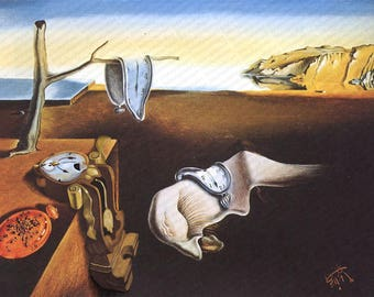 Clock Parody - Print Poster Canvas - Funny Dali Surrealist Melting Clocks Fine Art Altered Modified Repurposed Enhanced Artwork