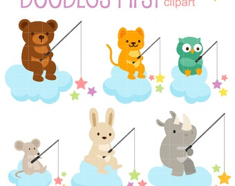 Star Fishing Animals Digital Clip Art for Scrapbooking Card Making Cupcake Toppers Paper Crafts
