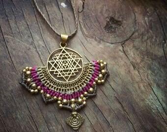 Sri Yantra lotus necklace, Sacred Geometry necklace, Boho Necklace, Geometric Necklace, Spiritual Jewelry, Festival Necklace, mandala
