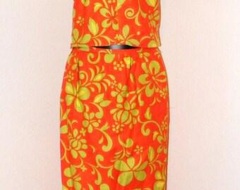 Vintage 1970s 2 piece matching blouse & skirt set