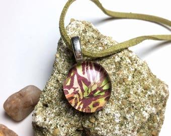 Handmade Glass Pendant Necklace  - Lilac Zebra