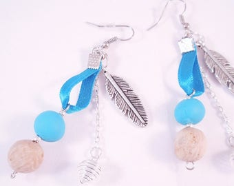 Blue Ribbon and metal feather earrings
