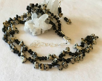 Dalmatian Jasper with Black Onyx, Long Necklace or Wrap Bracelet, Hand Crochet on Pure Silk Thread, Earrings and Sterling Silver