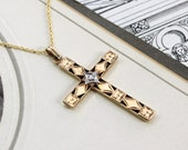 Vintage Gold & Diamond Cross Pendant, 10k Yellow Gold Engraved Dogwood, Communion Bridal Necklace Jewelry
