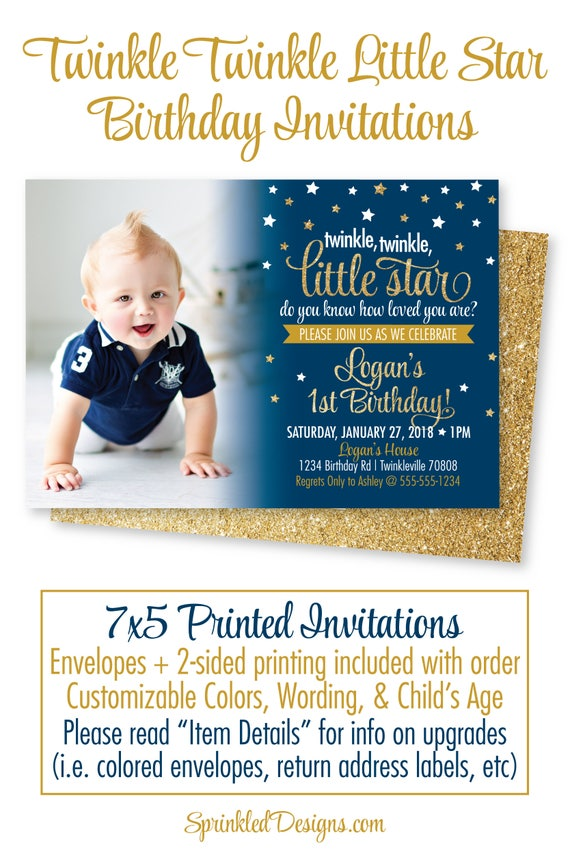 Twinkle Twinkle Little Star Birthday Invitations with Photo, Star ...