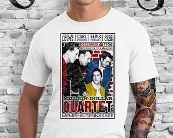 The Million Dollar Quartet White T-shirt. Johnny Cash. Jerry Lee Lewis. Elvis Presley. Carl Perkins. 1956. Music. Memphis.