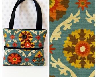 Mayan Medallion Blue Shoulder Bag /Small  Purse / Magnetic Snap Closure / Adobe Suzani