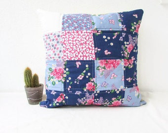 Quilted cushion cover, blue and pink, handmade in the UK