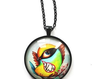 Colorful necklace with love-bird, illustration by Susann Brox Nilsen. Owl, love, bird, lowbrow, pop art, illustration, valentine, for girls.