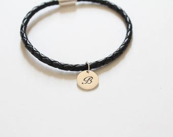 Leather Bracelet with Sterling Silver Cursive B Letter Charm, Bracelet with Silver Letter B Pendant, Initial B Charm Bracelet, B Bracelet