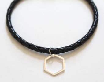 Leather Bracelet with Sterling Silver Hexagon Charm, Hexagon Bracelet, Silver Hexagon Bracelet, Sterling Silver Honeycomb Bracelet, Hexagon
