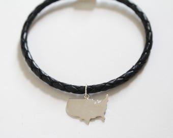 Leather Bracelet with Sterling Silver United States Charm, United States Charm Bracelet, USA Charm Bracelet, USA Bracelet, USA Pendant