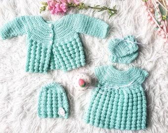 Hand crocheted clothing set for doll or teddy bear