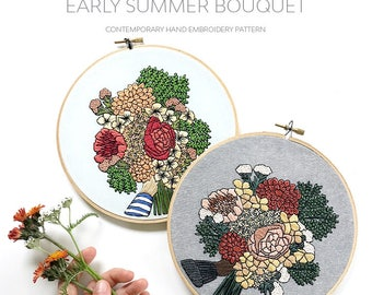 Advanced Hand-Embroidery PATTERN By Sarah K. Benning: Early Summer Bouquet - Available through July 19!