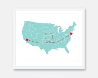 Custom Long Distance Relationship Print, Us map print, Gift for Boyfriend, Gift for Girlfriend, Going Away Gift