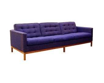 Mid Century Modern Florence Knoll 3 Seat Lounge Sofa Model 1205 S3 Wooden Frame