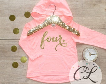 CLOSEOUT * Birthday Girl Shirt / Baby Girl Clothes 4 Year Old Outfit Fourth Birthday Shirt 4th Birthday Girl Outfit Hoodie Four Shirt 1