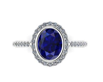 Oval Sapphire Engagement Ring, Sapphire and Diamond Ring, Chatham Sapphire, Blue Sapphire Ring,  Recycled Platinum, Ethical Bridal Jewelry