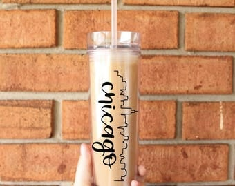 Chicago Skyline Tumbler | Chicago, Illinois | Tall Skinny Coffee Tumbler | Iced Coffee Cup | Southern Sweetheart Gifts