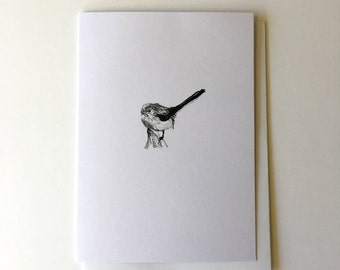 Bird Greeting Card - Illustrated Note Card - Chaffinch Ink Illustration - Black and white Print