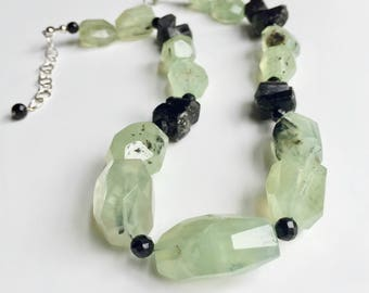 Green Quartz Onyx Necklace Black One Of A Kind Tourmalinated Raw Natural Stone Boho Sterling Silver LN190