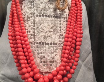 Vintage Multi Strand Beaded Necklace in Salmon