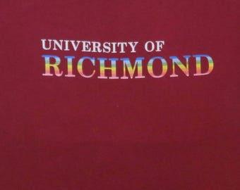 80's Vintage T Shirt University Of Richmond Rainbow Print College Football Athletic Varsity