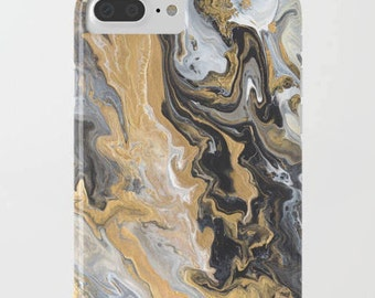 Black and Gold Marble phone case , iphone 7, 8, 10, iphone 7 plus, 8 plus, X  Samsung  abstract, chic, designer, modern,  protective, tech