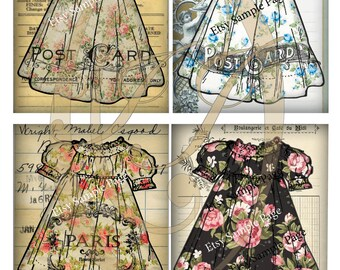 Pretty Dress Post Card Journal Cards