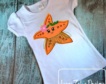 Hula Starfish Girl appliqué embroidery design - Starfish appliqué design - beach appliqué design - girl appliqué design - ocean appliqué