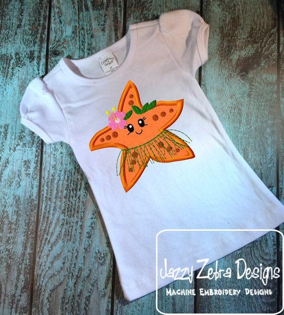 Hula Starfish Girl appliqué embroidery design - Starfish appliqué design - beach appliqué design - girl appliqué design - ocean appliqué
