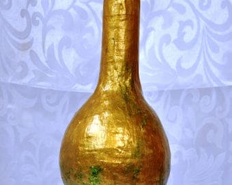 Vase in Gold, OOAK, Upcycled Materials