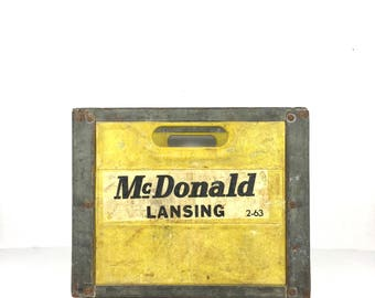 Vintage Dairy Crate 1960 McDonald Lansing Michigan Dairy Crate Old Yellow Metal Crate Industrial Crate Yellow Vintage Farm Crate