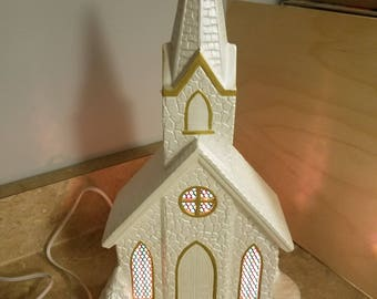 Hand-painted Ceramic Church w/ Stained Glass windows.