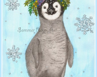 Boho Baby Penguin,  Winter with Snow, Floral Head Wreath, Drawing with Watercolor accents, Card or Print, Item #0583a