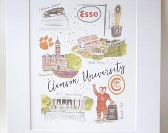 Clemson University Illustration Print