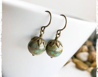 Green Turquoise Globe Earrings