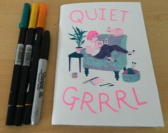 Quiet Grrrl A5 risograph notebook - white or yellow