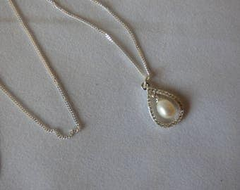 Sterling Silver Necklace with a Pearl Drop Pendant