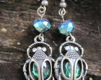 Emerald Egyptian Scarab Beetle Dangle Earrings