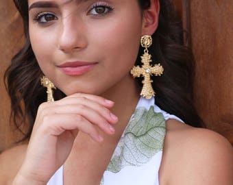 Gold Cross Earrings (Mexican Wedding Earrings Religious Catholic Earrings Costume Stocking Stuffer Christmas Gift Mexico Faith Jewelry Boho)
