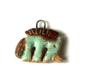 FUNKY ceramic UNICORN pendant - handmade jewelry components