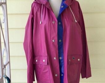 Izod Raincoat Reversible Dark Pink to Bright Blue/1980s/ Retro/Lacoste/Alligator Emblem/Waterproof PVC/Medium/Rain Slicker