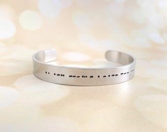Morse Code Cuff Bracelet, Morse Code Jewelry, Secret Message Jewelry, Friendship Bracelet, Personalized Hidden Message Bracelet