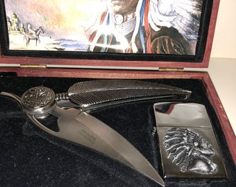Native American Cigar Cutter and Lighter